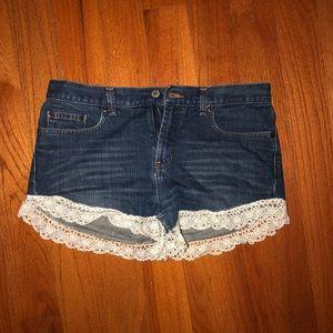 Express Macrame Trim Jean Shorts